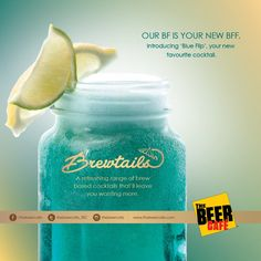 Blue things tend to flip blues away!  Introducing 'Blue Flip'- A refreshing blend of passion fruit and blue lagoon. #brewtails #beer based cocktails