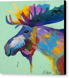 Moose Canvas Print featuring the painting Moose In Green by Tracy Miller