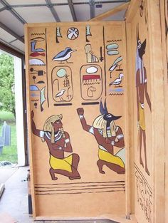 egyptian panels-- cover living room screen with brown paper a draw these on! Egyptian Decorations, Egyptian Home Decor, Ancient Egypt, Ancient History, Egyptian Themed Party, Egyptian Mummies, Egypt Art, Thinking Day, Ancient Civilizations