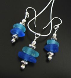 Sea Glass Earrings and Necklace Sets, Seaglass Jewelry Sets, Beach Glass Jewelry, Jewellery, Blue Sea Glass,