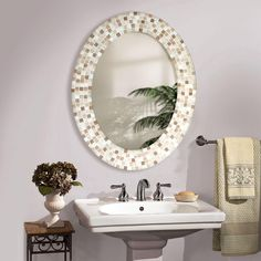 Delicieux Bathroom: Small Oval Bathroom Mirror With New Decorative Design From Good  Looking Oval Bathroom Mirrors On Your Bathroom | Bathroom | Pinterest | Oval  ...