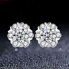JingYu 925 Silver Zircon Snow Lady High-grade Platinum Plating Anti Allergy  Earrings
