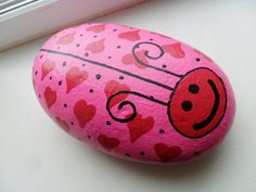 Handpainted Heart LOVE BUG ROCK Valentine's Day by KathiJanes