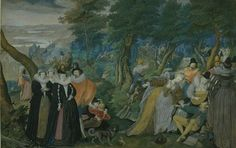 Isaac Oliver : A Party in the Open Air. Allegory on Conjugal Love (National Gallery of Denmark) アイザック・オリバー Renaissance Pirate, Medieval Hats, Renaissance Clothing, Medieval Times, Elizabethan Era, Elizabethan Costume, Google Art Project, National Gallery, Esoteric Art