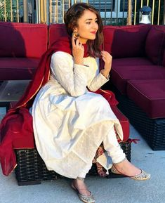 Image may contain: 1 person, sitting and indoor Simple Pakistani Dresses, Pakistani Bridal Wear, Pakistani Dress Design, Pakistani Outfits, Indian Dresses, Indian Outfits, Eid Outfits, Pakistani Couture, Eid Dresses