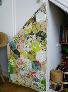 Patchwork wallpaper inside cupboard door