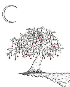 The Great Tree with moon 8x10 art print of by theartofseth on Etsy