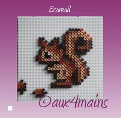 Squirrel hama perler by Perler Bead Designs, Hama Beads Design, Diy Perler Beads, Perler Bead Art, Pony Bead Patterns, Pearler Bead Patterns, Perler Patterns, Beading Patterns, Hama Beads Animals