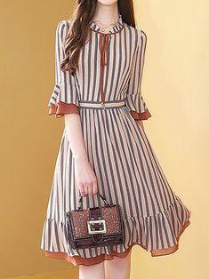Stylewe Striped Ruffled Bell Sleeve A-Line Daily Midi Dress Choli Designs, Kurta Designs Women, Dress Neck Designs, Designs For Dresses, Simple Dresses, Casual Dresses, Fashion Dresses, Frock Patterns, Fancy Kurti