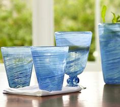 Spun Recycled Glassware, Set of 6 #potterybarn