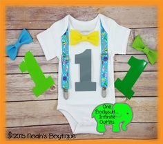 Under the Sea Boys First Birthday Outfit - Sharks Whales Fish Ocean -1st Birthday Clothes - First Birthday Shirt - Bow Tie Suspender