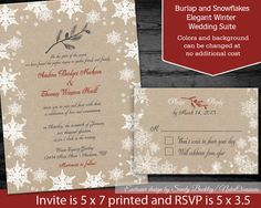 DIY Winter Wedding Invitation printable Rustic by NotedOccasions, $35.00