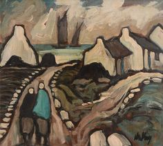 'Two figures, cottages and seascape' - Markey Robinson (1918–1999)