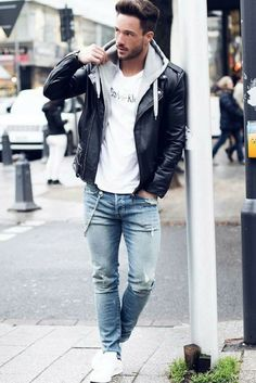 56 trendy how to wear leather jacket men mens fashion 56 trendy how to wear leather jacket men mens fashion 56 trendy how to wear leather jacket men mens fashion<br> Streetwear, Black Leather Jacket Outfit, Blue Jeans Outfit Men, Winter Outfits Men, Style Outfits, Work Outfits, Casual Outfits, Herren Outfit, Urban Dresses