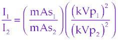 kvp and mas formula