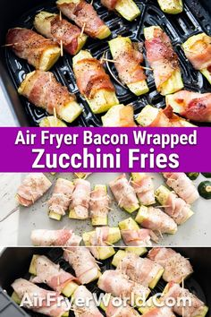1 reviews · 25 minutes · Gluten free · Serves 8 · Our Air Fryer Bacon Wrapped Zucchini Fries recipe is a great low-carb snack. It's perfect for keto dieting. Fun Easy Recipes, Easy Appetizer Recipes, Easy Snacks, Keto Snacks, Delicious Recipes, Keto Recipes, Snack Recipes, Dinner Recipes, Bacon Zucchini