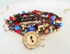 SOLD - Czech Glass Boho Blue Jean Crochet 5 Wrap Bracelet/Necklace/Belt | GemOnAWire - Jewelry on ArtFire