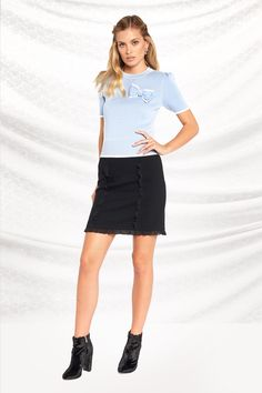 Top in Blue, Mulberry, Purple Work Wardrobe, New Work, Denim Skirt, Mini Skirts, In This Moment, Detail, Purple, Cute, Tops