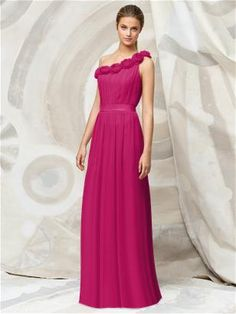 Full length one shoulder crinkle chiffon dress with hand worked rosettes at neckline and matching matte satin belt at natural waist.     Fabric: Crinkle Chiffon  Color: Tutti Frutti