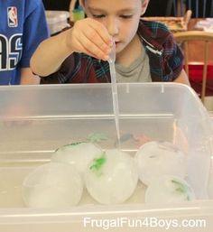 So fun!! Dinosaur Egg Ice Excavation. Frugal Summer Activities, Summer Kids Activities #summer