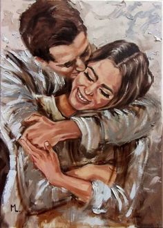 Couple Painting, Love Painting, Oil Painting On Canvas, Art And Illustration, Romance Arte, Art Romantique, Abstract Painting Easy, Abstract Paintings, Abstract Canvas