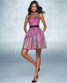 Adrianna Papell Floral-Print Illusion Dress #adrianna #papell #floral #print #pattern #purple #fuschia #fucshia #pink #dress #cocktail #fashion