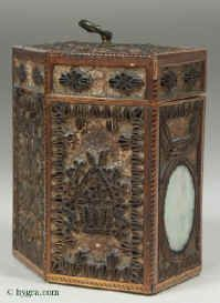 A late 18th century rolled paper tea caddy with colored prints of classical inspiration