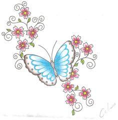 Desenho de borboleta e flores para o ombro By Celina