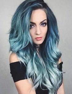 25 mesmerizing mermaid hair color ideas beauty pastel blue h Pastel Ombre, Pastel Blue Hair, Teal Hair, Ombre Hair Color, Blonde Color, Cool Hair Color, Hair Colour, Pastel Hair Colors, Blue Ombre