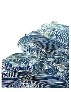 Wellen des Ozeans in blau und grün – Aquarell Archiv Print Waves of the ocean in blue and green watercolor by YaoChengDesign Ocean Art, Ocean Waves, Water Waves, Green Watercolor, Watercolor Art, Abstract Illustration, Abstract Print, Beauty Illustration, Water Art