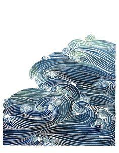 Handmade Watercolor Archival Art Print Ocean by YaoChengDesign, $25.00