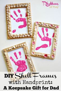 These DIY shell frames with handprint are easy to make, fun to do, and make a beautiful keepsake kid made gift to give for any occasion. Make yours today!