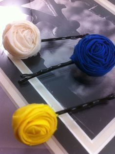 Three Handmade Yellow White & Blue Lollipop Flower Hair by glamMKE, $5.00