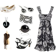 """Plus Size Black and White Summer Dress"" by intcon on Polyvore"