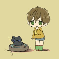 Makoto and cat Haru | Free!