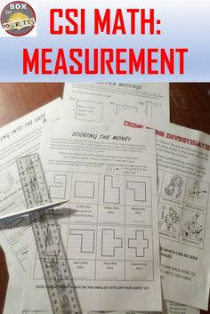 CSI Measurement Activity. Use math (area, volume, cardinal directions) to discover who the criminal was from a list of suspects. Suitable for middle school and upper elementary students. Students have to use their math skills to eliminate suspects so t