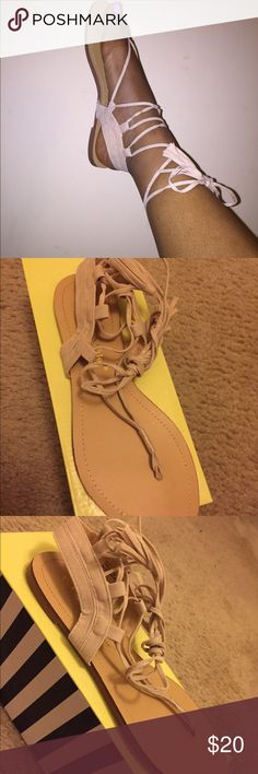 Lace up sandals Nude Suede Lace Up Wrap Around Sandals | Brand New, Never Worn | No Tags But Includes Original Box. Shoes Sandals