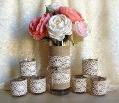 lace and burlap covered 6 tea candle and 1 vase by PinKyJubb, $45.00