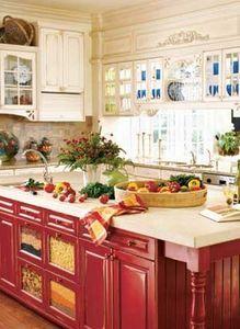 Get prices, design ideas on custom kitchen cabinets. Red Kitchen Island, Kitchen Tops, New Kitchen, Kitchen Dining, Kitchen Islands, Kitchen Redo, Dining Rooms, Red Cabinets, Custom Kitchen Cabinets