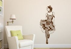 Can-Can Dancer Wall Decal - beautiful girl vinyl decoration