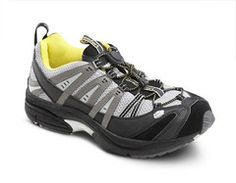 Comfort Men's Performance Grey Yellow Diabetic Athletic Shoes A light-weight cross-trainer shoe. Unique arch stabilizer for enhanced support. This shoe is Yellow Shoes, Black N Yellow, Black And Grey, Mens Fashion Shoes, Cross Training, Lace Up Shoes, 5 D, Casual Wear, Hiking Boots