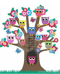 Owls in a tree. Lot of colorful owls sitting in a tree. Owl Crafts, Crafts For Kids, Owl Clip Art, Owl Classroom, Owl Vector, Vector Art, Owl Pictures, Owl Always Love You, Beautiful Owl