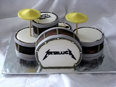 Drums Chocolate cake crumb coated with vanilla BC covered with chocolate fondant mixed with white fondant to create the wood grain effect. Music Themed Cakes, Music Cakes, Fisherman Cake, Drum Cake, Chocolate Fondant, Novelty Cakes, Creative Cakes, Unique Cakes, Cakes For Boys