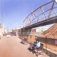 Bridge, Ilya Kuvshinov on ArtStation at https://www.artstation.com/artwork/wZ8R9