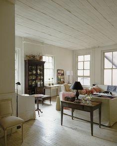 John Derian's East Village apartment. Painted white floors, white washed floors, painted white ceiling, NYC apt, Manhattan apartment