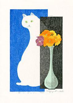 Cat & Pansy; Kazuyuki Ohtsu Japanese Woodblock Print. $395 #japanese #cat #pansy