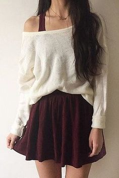 Solid round neck loose sweater- Tap the link now to see our super collection of accessories made just for you! Cute Skirt Outfits, Teen Fashion Outfits, Mode Outfits, Girly Outfits, Cute Casual Outfits, Pretty Outfits, Stylish Outfits, Cute Dresses, Fall Outfits
