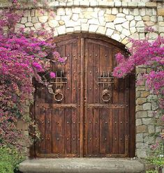 All my favorites in one. stone with wood/iron doorway Front Gates, Entry Gates, Entrance Doors, Garage Doors, Wooden Gates, Wooden Doors, Arched Doors, Windows And Doors, Gate Design