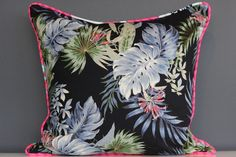 Blue Palms Cushion Cover piped in Marimekko Pinks - 45cm x 45cm