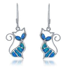 La Preciosa Sterling Silver Created Blue Opal Cat Dangle Earrings - Free Shipping On Orders Over $45 - Overstock.com - 17544384 - Mobile